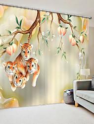 cheap -Ceramic Style Peach Tree And Tiger Digital Printing 3D Curtain Shading Curtain High Precision Black Silk Fabric High Quality Curtain
