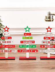 cheap -1pcs Letter Merry Christmas Wooden Hanging Ornaments Christmas Tree Ornament Wood Crafts For Wall