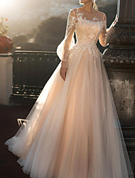 cheap -A-Line Jewel Neck Sweep / Brush Train Tulle Long Sleeve Romantic Illusion Sleeve Wedding Dresses with Buttons / Appliques 2020