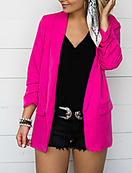 cheap -Women's Daily Spring &  Fall Regular Jacket, Solid Colored Rolled collar Long Sleeve Polyester Black / White / Fuchsia
