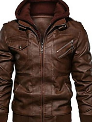 cheap -Men's Daily Winter Regular Jacket, Solid Colored Hooded Long Sleeve Polyester Black / Red / Brown
