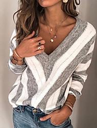Недорогие -Жен. Полоски Длинный рукав Большие размеры Пуловер Свитер джемпер, V-образный вырез Зима Винный / Лиловый / Серый S / M / L