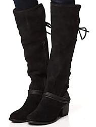 cheap -Women's Boots Block Heel Round Toe Suede Mid-Calf Boots Fall & Winter Black / Brown / Khaki