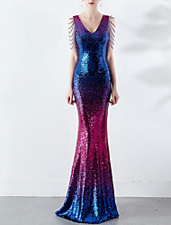 cheap -Mermaid / Trumpet V Neck Sweep / Brush Train Sequined Open Back Formal Evening Dress 2020 with Beading / Sequin