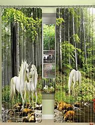 cheap -White Horse Digital Printing in The Woods 3D Curtain Shading Curtain High Precision Black Silk Fabric High Quality Curtain