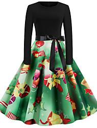 cheap -Women's Green Black Dress Basic Christmas Party Festival Sheath Snowflake Snowman Print S M