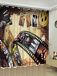 abordables -film créatif protection de l'environnement impression numérique 3d rideau rideau d'ombrage haute précision noir tissu de soie rideau de haute qualité