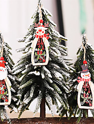 cheap -3pcs Wooden Angel Doll Home Decor Elk Hanging Christmas Tree Decoration Crafts Christmas Gift