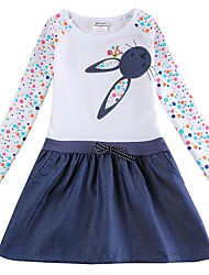 cheap -Kids Girls' Active Cat Rabbit Polka Dot Animal Bow Embroidered Lace up Long Sleeve Above Knee Dress White / Cotton