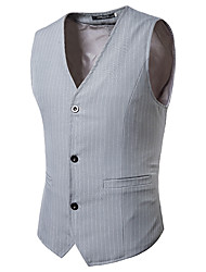 cheap -Men's Vest, Striped V Neck Rayon / Polyester Black / Gray