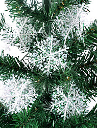 cheap -30 Pieces Christmas Tree White Snowflake Ornaments Home Christmas Party Decoration Artificial Snow