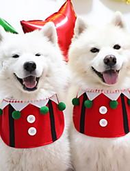 Недорогие -Собаки Коты Животные Шарф для собаки Зима Одежда для собак Красный Костюм Полиэстер Однотонный Рождество Косплей Рождество M L XL
