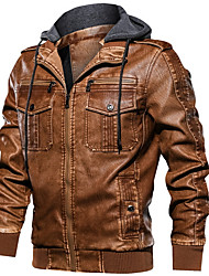 cheap -Men's Daily Fall & Winter Regular Leather Jacket, Solid Colored Hooded Long Sleeve PU Black / Yellow / Gray