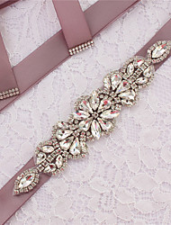 cheap -Satin / Tulle Wedding / Party / Evening Sash With Appliques / Belt / Crystals / Rhinestones Women's Sashes