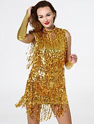cheap -Women's The Great Gatsby Latin Dance Dress Gloves Outfits Tassel Sequins Polyester Sequin Black Golden Black / Silver Dress Gloves Corsets