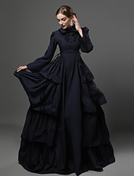 cheap -Victorian Medieval 18th Century Dress Party Costume Masquerade Women's Lace Cotton Costume Dark Blue Vintage Cosplay Party Prom Long Sleeve Long Length Ball Gown Plus Size Customized