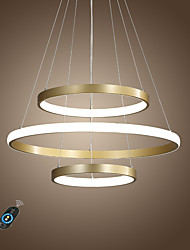cheap -1-Light LED90W Circle Modern Chandelier Gold Painted Aluminum Rings Lamp for Living Bed Office Room Cafes Bar Warm White White Dimmable with Remote WIFI works for Google home Amazon Alexa