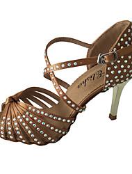 Недорогие -Жен. Танцевальная обувь Сатин Обувь для латины Кристаллы / Crystal / Rhinestone На каблуках Тонкий высокий каблук Миндальный