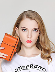 cheap -Women's Zipper PU Mobile Phone Bag Solid Color Orange / Green / Black / Fall & Winter