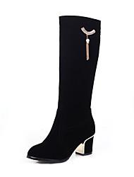 cheap -Women's Boots Knee High Boots Block Heel Round Toe Tassel Tissage Volant Knee High Boots Sweet / Minimalism Fall & Winter Black / Red