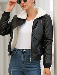 cheap -Women's Daily Fall & Winter Regular Leather Jacket, Solid Colored V Neck Long Sleeve Polyester Black