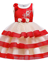 cheap -Kids Toddler Girls' Active Cute Floral Color Block Christmas Beaded Bow Layered Sleeveless Knee-length Dress Blushing Pink