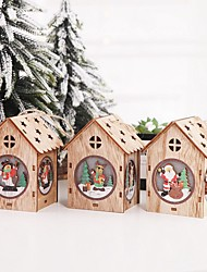 cheap -3pcs Christmas Wooden LED Toys For Home That Glow In The Dark Decor Montessori Toys For Children Christmas Gift