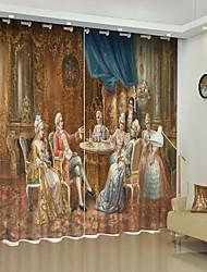 cheap -European Palace Oil Painting Style Digital Printing 3D Curtain Shading Curtain High Precision Black Silk Fabric High Quality Curtain