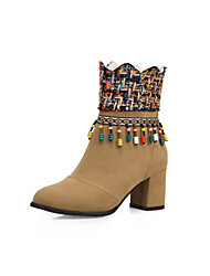 cheap -Women's Boots Chunky Heel Round Toe Tassel Faux Fur Booties / Ankle Boots British / Preppy Spring &  Fall / Fall & Winter Black / Brown / Yellow