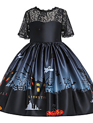 cheap -Kids Toddler Girls' Active Cute Floral Color Block Halloween Pleated Lace up Patchwork Half Sleeve Knee-length Dress Black
