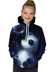 cheap -Kids Toddler Girls' Active Basic Panda Geometric Print Color Block Print Long Sleeve Hoodie & Sweatshirt Blue / Animal