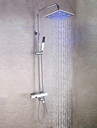 cheap -Bathroom Thermostatic Shower Faucet Set / 10 Inch Square LED Shower Head / Hand Shower Included / Chrome / Brass / Contemporary