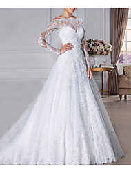 cheap -A-Line Off Shoulder Sweep / Brush Train Lace Long Sleeve Formal Illusion Detail Made-To-Measure Wedding Dresses with Crystals 2020
