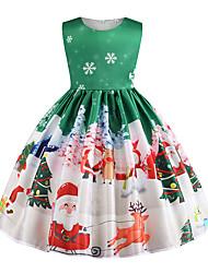 cheap -Kids Girls' Basic Christmas Sleeveless Knee-length Dress Green