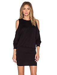 cheap -Women's Mini Black Dress Basic Sheath Solid Colored S M