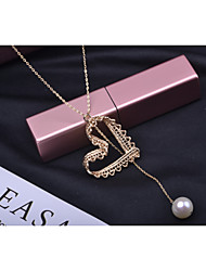 cheap -Women's White Pearl Pendant Necklace Long Heart Fashion Gold Plated Gold 60+3 cm Necklace Jewelry 1pc For Daily