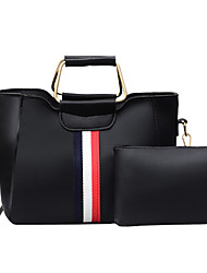 cheap -Women's PU Bag Set Solid Color 2 Pieces Purse Set Black / Brown / Blushing Pink