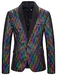 cheap -Men's Blazer Shirt Collar Polyester Rainbow
