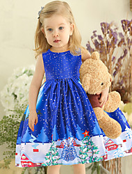 cheap -Kids Toddler Girls' Active Cute Floral Color Block Christmas Pleated Lace up Print Sleeveless Knee-length Dress Blue