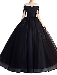 cheap -A-Line Off Shoulder Floor Length Polyester Elegant Formal Evening Dress with Beading / Appliques / Tassel 2020