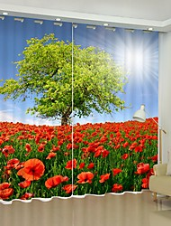 cheap -Red Poppy Flower Sea Tree Digital Printing 3D Curtain Shading Curtain High Precision Black Silk Fabric High Quality Curtain