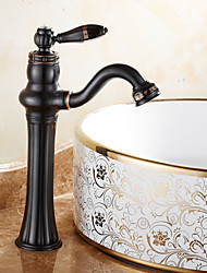 cheap -Bathroom Sink Faucet - Widespread Black / Black Oxide Finish Free Standing Single Handle One HoleBath Taps