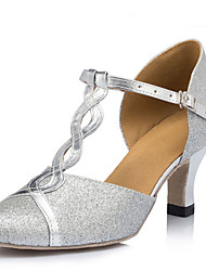 cheap -Women's Modern Shoes / Ballroom Shoes PU Buckle Heel Buckle Thick Heel Customizable Dance Shoes Silver / Performance