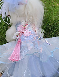 cheap -Dogs Cats Pets Dress Dog Clothes Blue Costume Polyster Lace Wedding Ethnic XS S M L XL