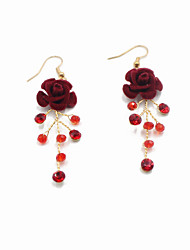 cheap -Crystal / Flocked Drop Earrings with Crystal / Glitter / Floral One Pair × 2 Wedding Headpiece