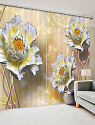 cheap -Ceramic Style Silver Edge Peony Digital Printing 3D Curtain Shading Curtain High Precision Black Silk Cloth High Quality Curtain