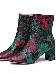 cheap -Women's Boots Print Shoes Chunky Heel Round Toe Mesh Booties / Ankle Boots Fall & Winter Green