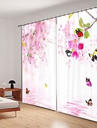 abordables -Papillon cerise impression numérique 3d rideau rideau ombrage hgh précision noir tissu en soie haute qualité rideau