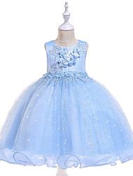 cheap -Kids Toddler Girls' Active Cute Solid Colored Floral Jacquard Lace Beaded Bow Sleeveless Knee-length Dress Light Blue