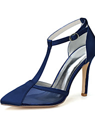 cheap -Women's Wedding Shoes Stiletto Heel Pointed Toe Buckle Satin Sweet Fall / Spring & Summer Black / White / Purple / Party & Evening